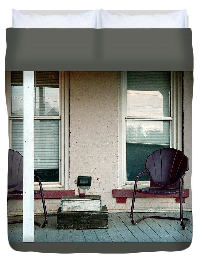 Porch Duvet Cover featuring the photograph Front Porch In Moscow Ohio by Kathy Barney