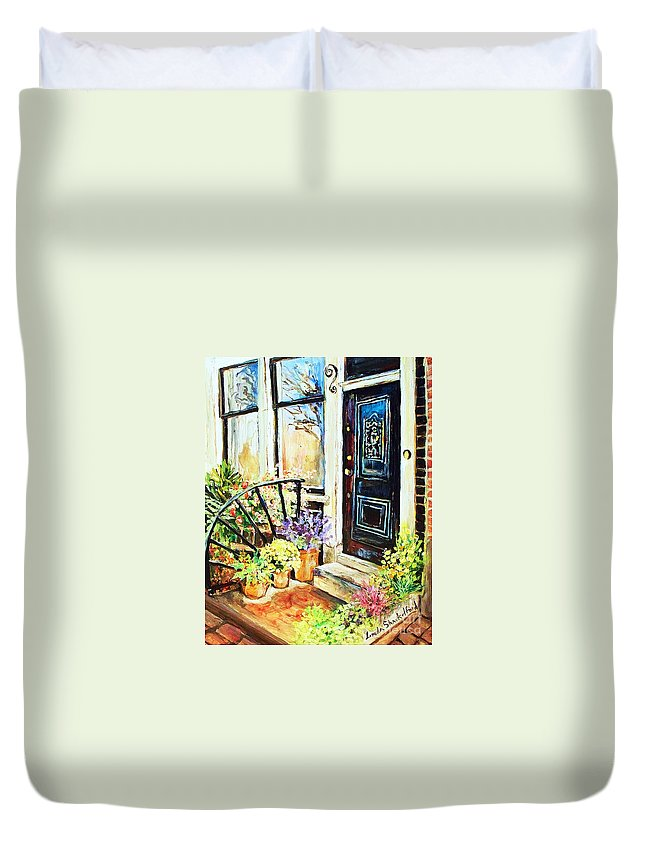 Frontporch Duvet Cover featuring the painting Front Porch by Linda Shackelford