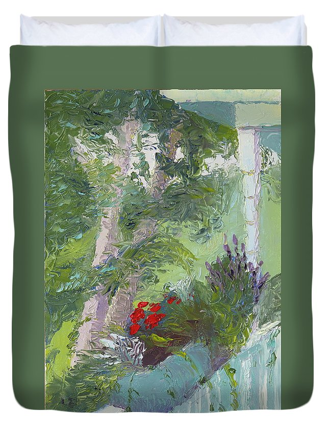 Porch Painting Duvet Cover featuring the painting Front Porch View by Lea Novak