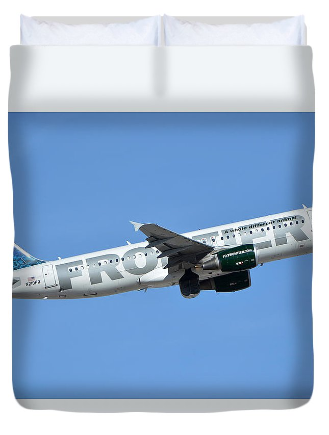 Airplane Duvet Cover featuring the photograph Frontier Airbus A319-214 N210fr Sheldon The Sea Turtle Phoenix Sky Harbor January 21 2016 by Brian Lockett