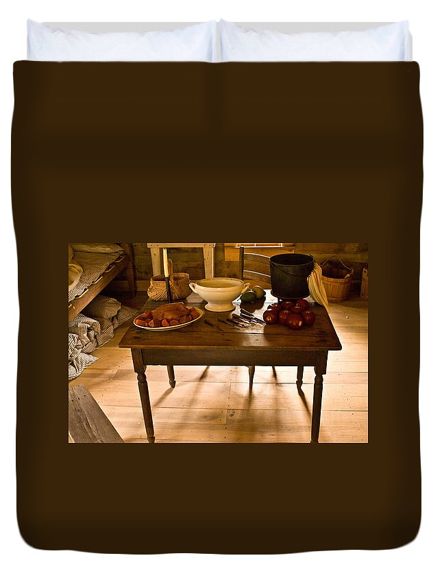 Frontier Duvet Cover featuring the photograph Frontier Meal by Douglas Barnett