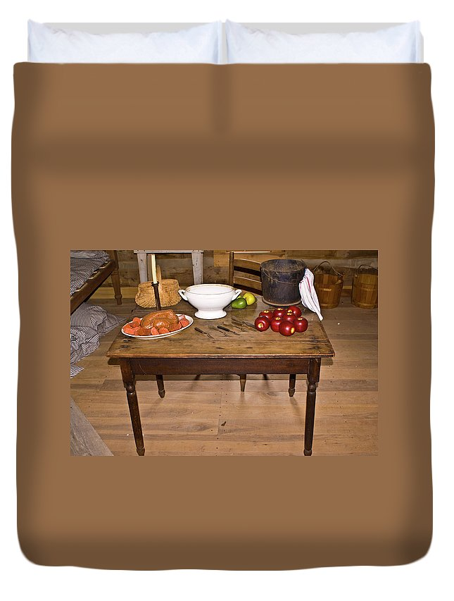 Table Duvet Cover featuring the photograph Frontier Table by Douglas Barnett