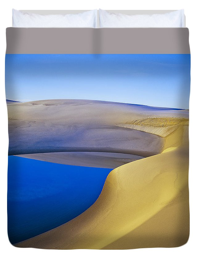 Coastal Dunes Duvet Cover featuring the photograph Frost And Ephemeral Pool by Robert Potts