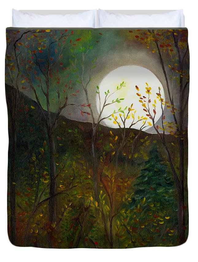 Autumn Duvet Cover featuring the painting Frost Moon by FT McKinstry
