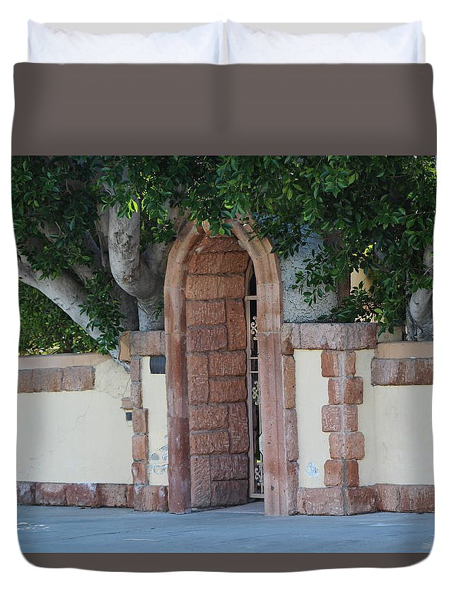 Frosted Almond Duvet Cover featuring the photograph Frosted Almond Garden Wall with Red Brick Entrance by Colleen Cornelius