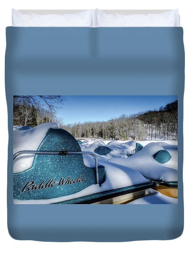 Landscape Duvet Cover featuring the photograph Frosted Paddleboats by Jim Love