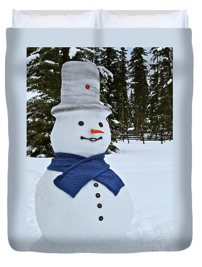 Snow Man Duvet Cover featuring the photograph Frosty Alaskan by Rick Monyahan