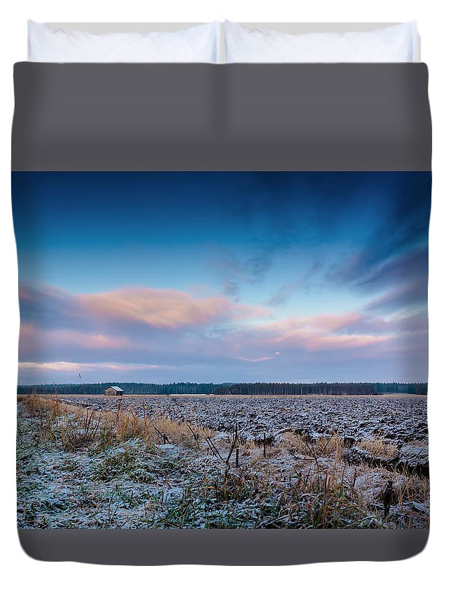 Finland Duvet Cover featuring the photograph Frosty Fields by Jukka Heinovirta