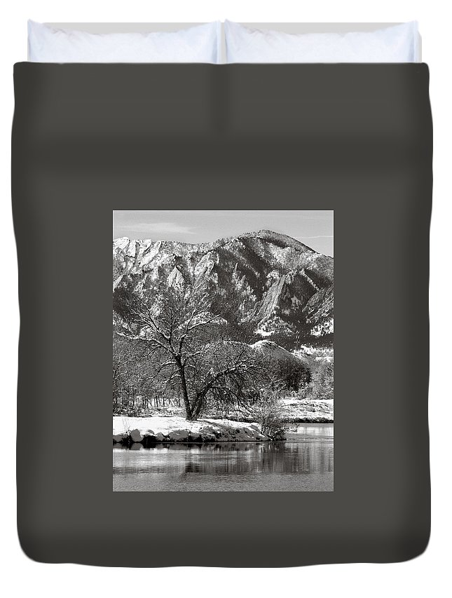 Colorado Duvet Cover featuring the photograph Frosty Flatirons 2 by Marilyn Hunt