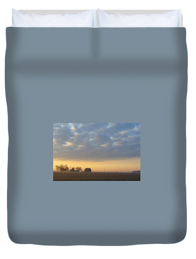 Sunrise Duvet Cover featuring the photograph Frosty Spring Sunrise 2 by Peggy King