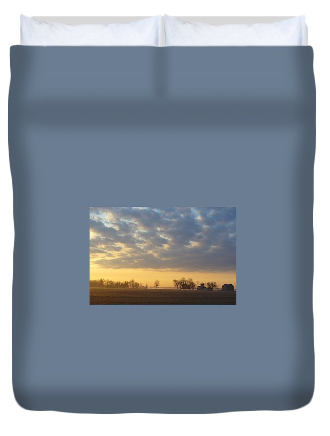 Sunrise Duvet Cover featuring the photograph Frosty Spring Sunrise by Peggy King