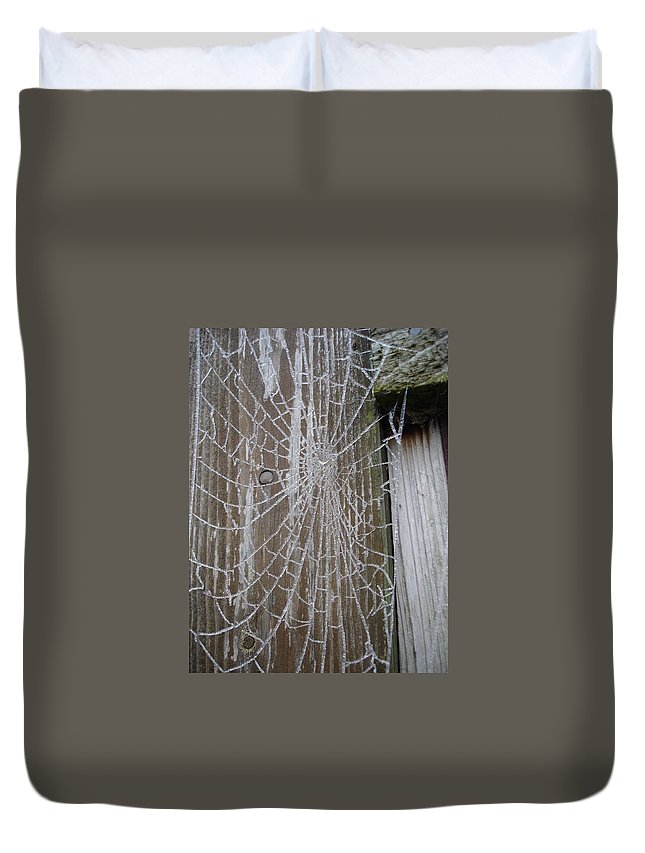 Winter Duvet Cover featuring the photograph Frosty Web by Susan Baker