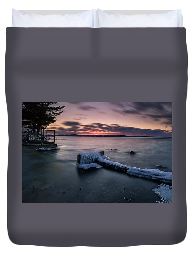 Long Exposure Duvet Cover featuring the photograph Frozen Cut River Dam by Ron Wiltse