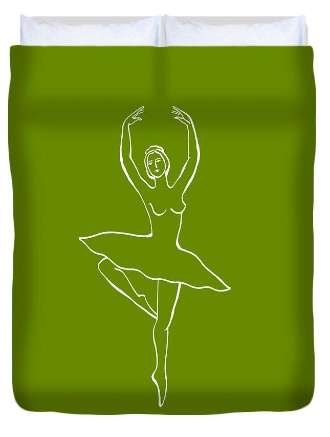 Ballerina Duvet Cover featuring the painting Frozen Dance Ballerina by Irina Sztukowski
