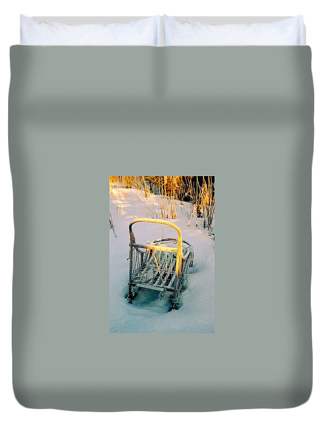 North America Duvet Cover featuring the photograph Frozen Dogsled by Juergen Weiss