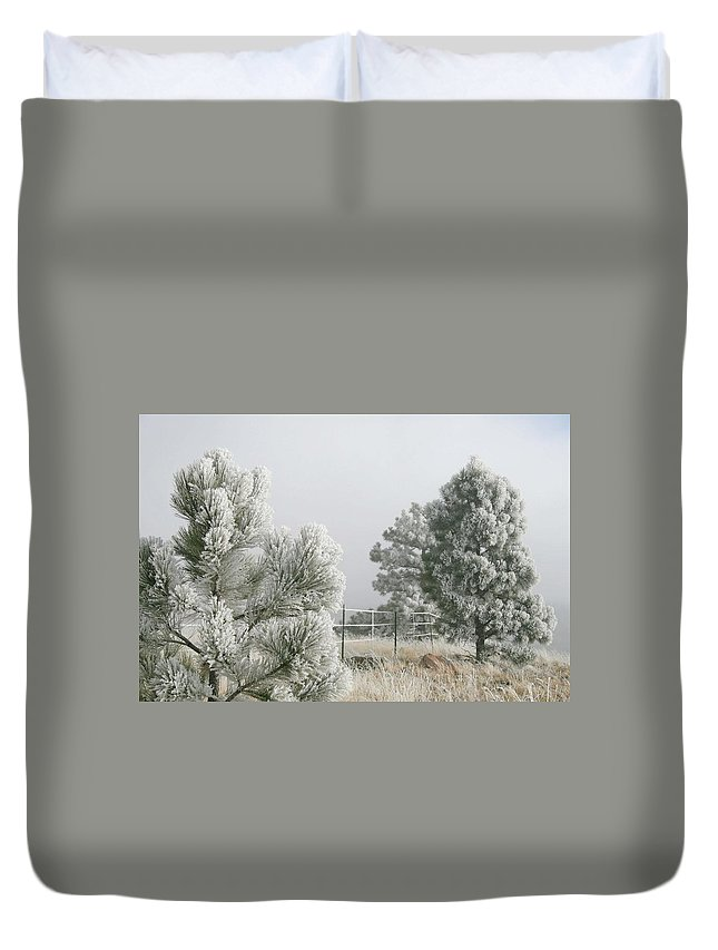 Frozen Fog Duvet Cover featuring the photograph Frozen Fog On Pine Trees by Judithann O'Toole