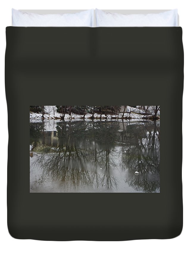 Lake Duvet Cover featuring the photograph Frozen Lake Reflection by Alice Markham