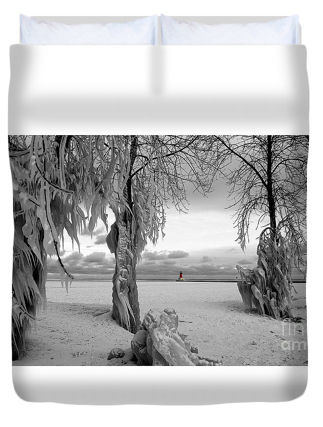 Lighthouse Ann Arbor Park Duvet Cover featuring the photograph Frozen Landscape Of The Menominee North Pier Lighthouse by Mark J Seefeldt
