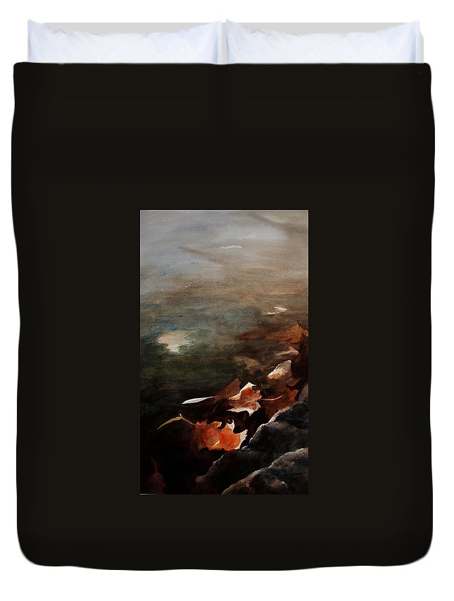 Landscape Duvet Cover featuring the painting Frozen Memories by Rachel Christine Nowicki