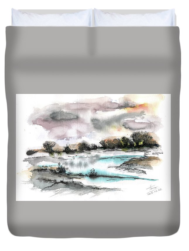 Abstract Landscape Duvet Cover featuring the painting Frozen River by Aniko Hencz