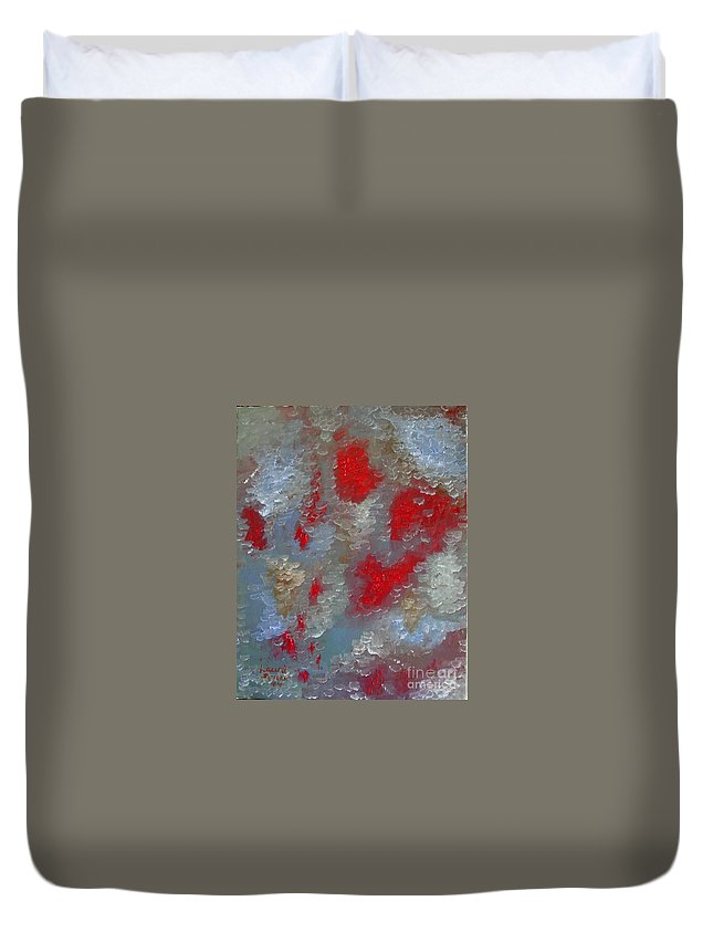 Abstract Duvet Cover featuring the painting Frozen Street by Laurie Morgan