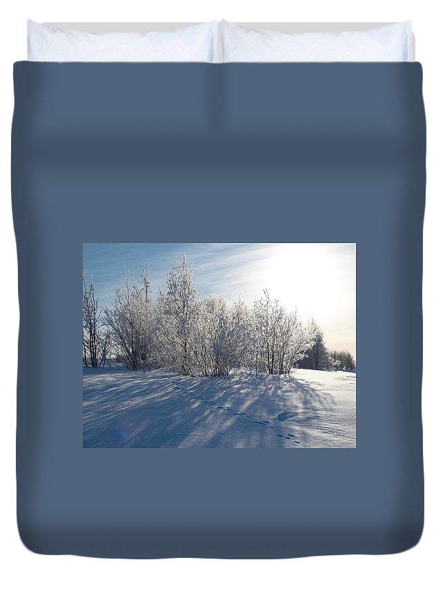 Talvi Duvet Cover featuring the photograph Frozen Views 3 by Jouko Lehto
