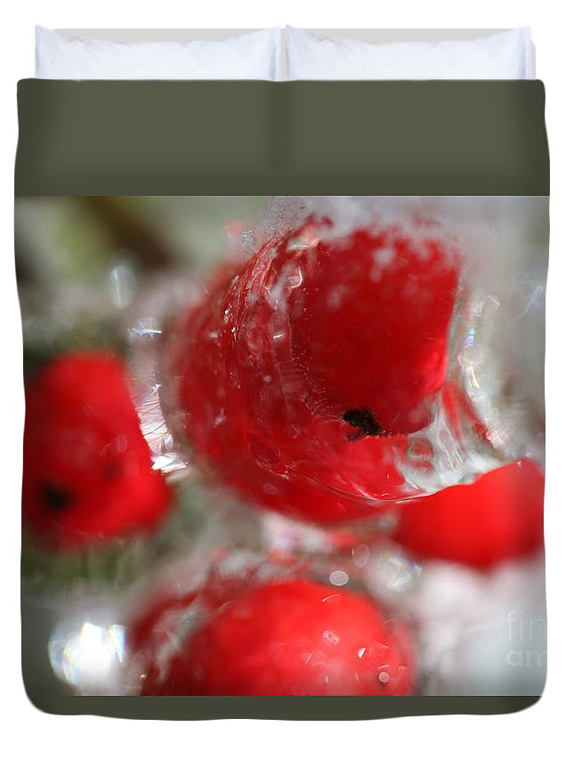 Berries Duvet Cover featuring the photograph Frozen Winter Berries by Nadine Rippelmeyer