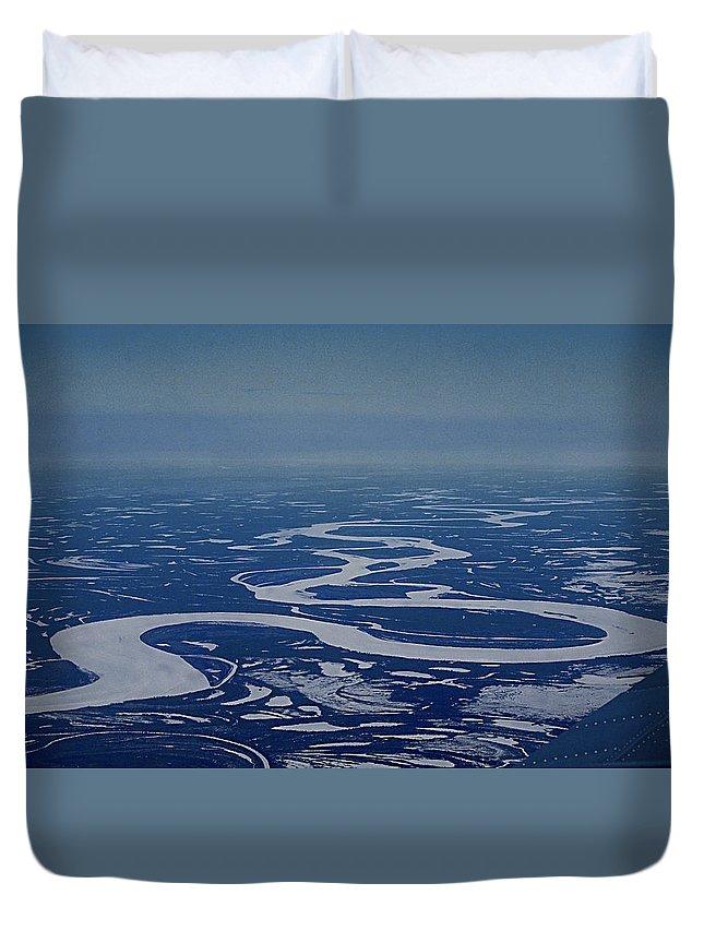 Frozen Yukon River Alaska White Ice Duvet Cover featuring the photograph Frozen Yukon River - Alaska by Galeria Trompiz