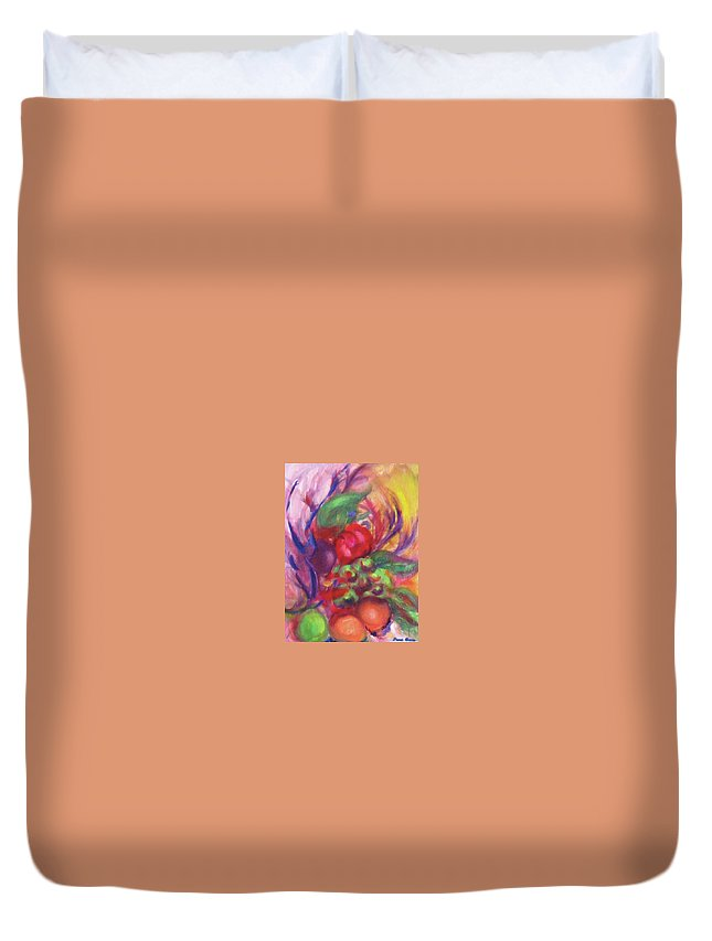 Fruits Duvet Cover featuring the painting Fruit And Flowers by Diane Quee