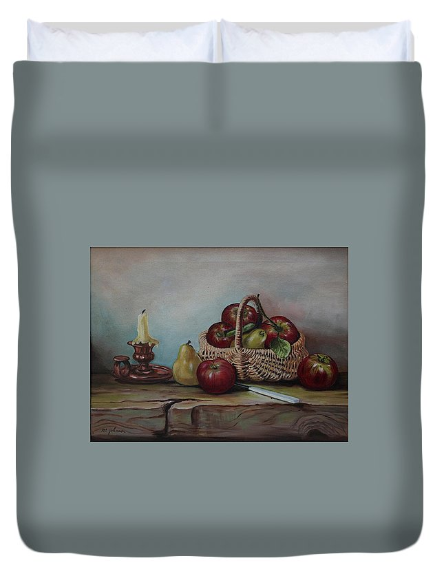 Fruit Basket Duvet Cover featuring the painting Fruit Basket - Lmj by Ruth Kamenev