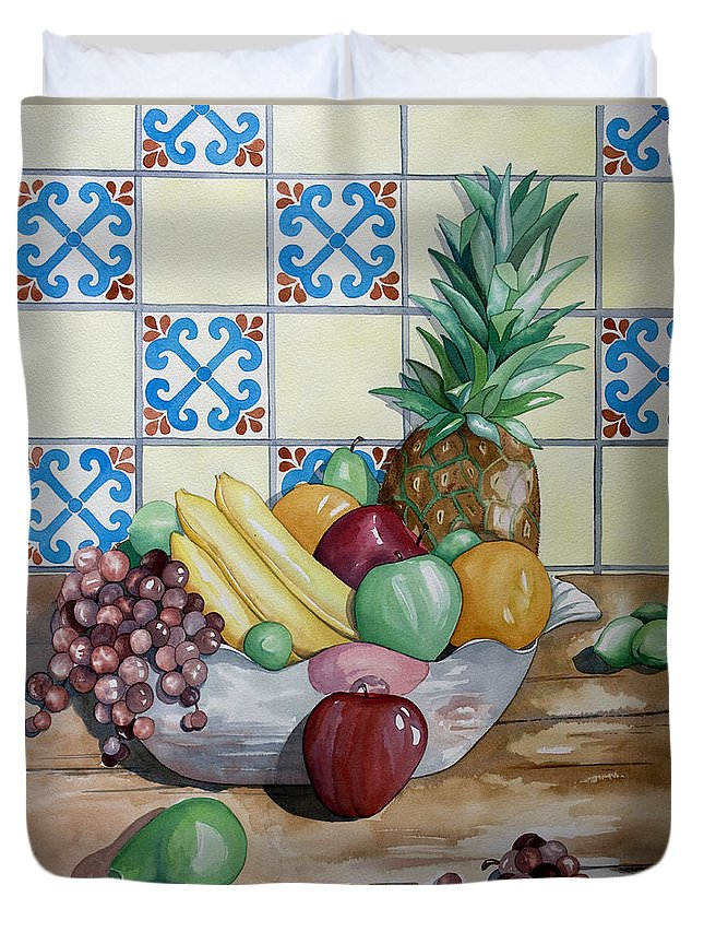 Fruit Painting Duvet Cover featuring the painting Fruit Bowl by Kandyce Waltensperger