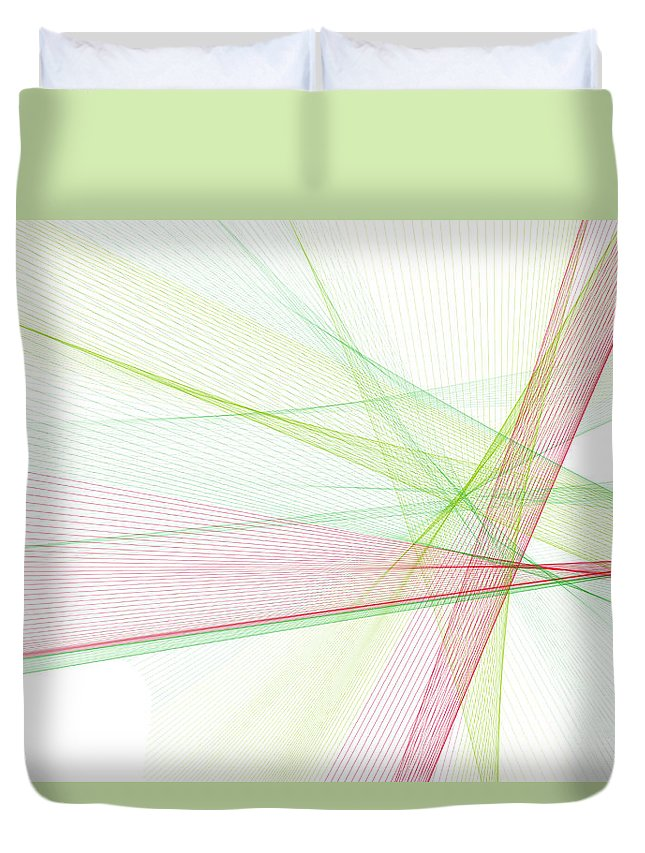 Abstract Duvet Cover featuring the digital art Fruit Computer Graphic Line Pattern by Frank Ramspott