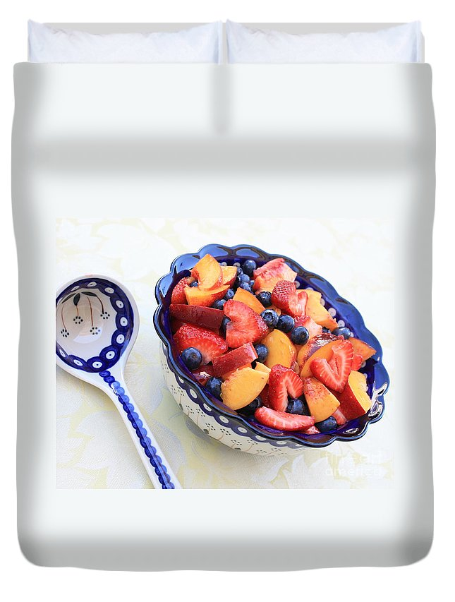 Fruit Duvet Cover featuring the photograph Fruit Salad With Spoon by Carol Groenen