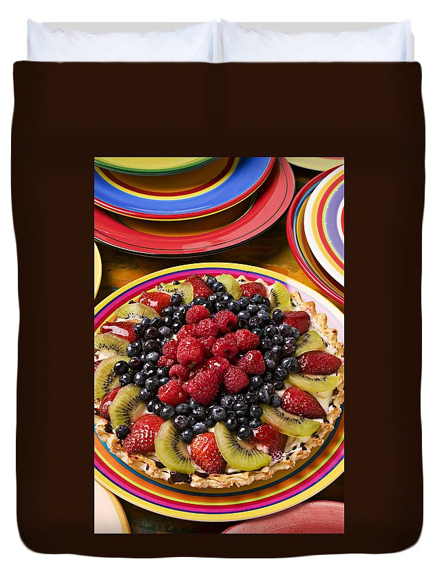 Fruit Duvet Cover featuring the photograph Fruit Tart Pie by Garry Gay