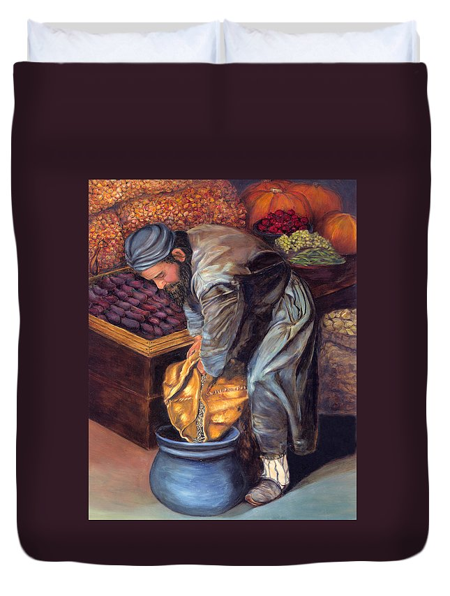Figurative Painting Duvet Cover featuring the painting Fruit Vendor by Enzie Shahmiri