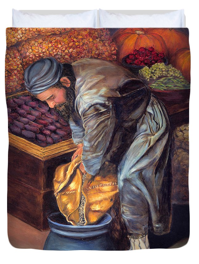 Figurative Painting Duvet Cover featuring the painting Fruit Vendor by Portraits By NC