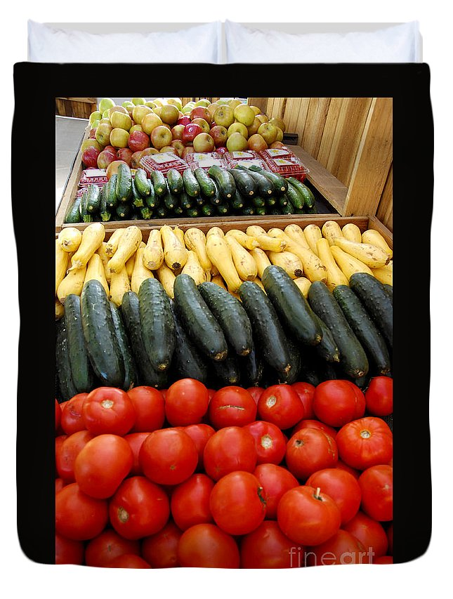 Zucchini Duvet Cover featuring the photograph Fruits And Vegetables On Display 1 by Micah May