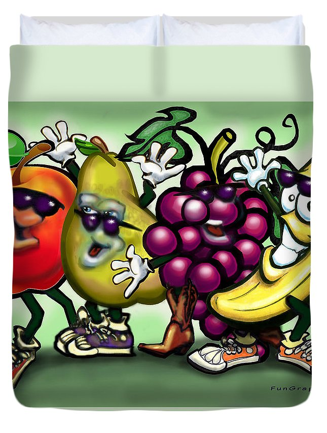 Fruit Duvet Cover featuring the painting Fruits by Kevin Middleton