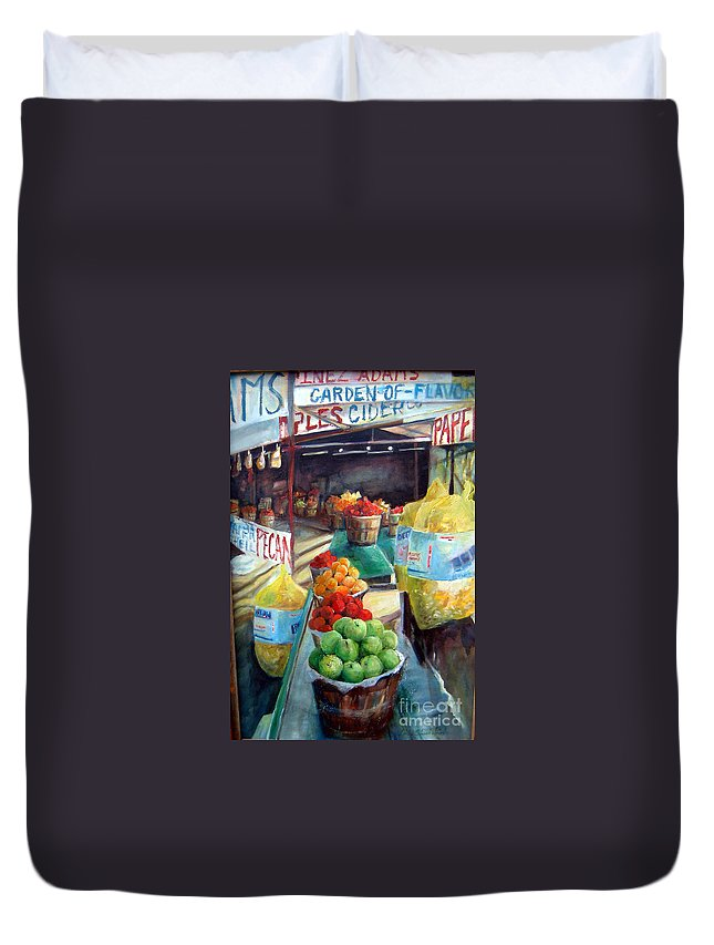 Fruit Duvet Cover featuring the painting Fruitstand Rhythms by Linda Shackelford