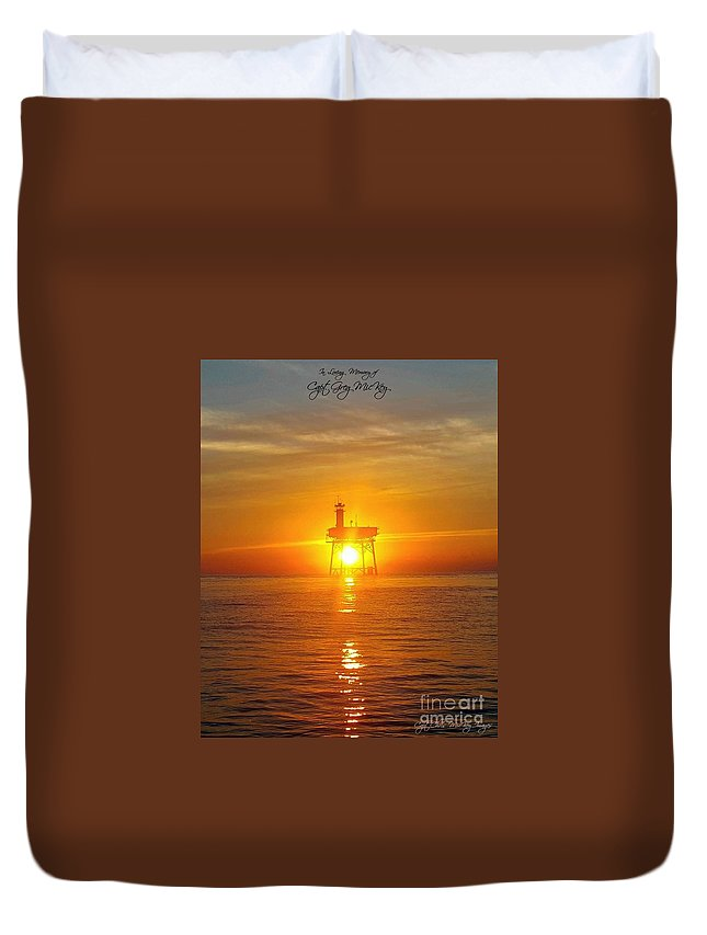 Sunset Duvet Cover featuring the photograph Frying Pan Tower by Chris Mickey