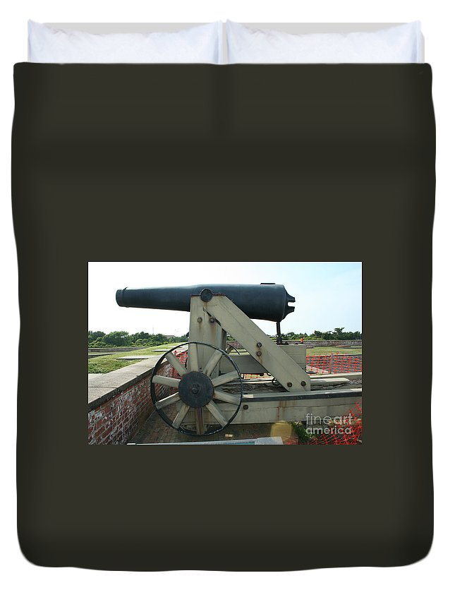 Fort Morgan Duvet Cover featuring the photograph Ft Morgan Nc Cannon by Tommy Anderson