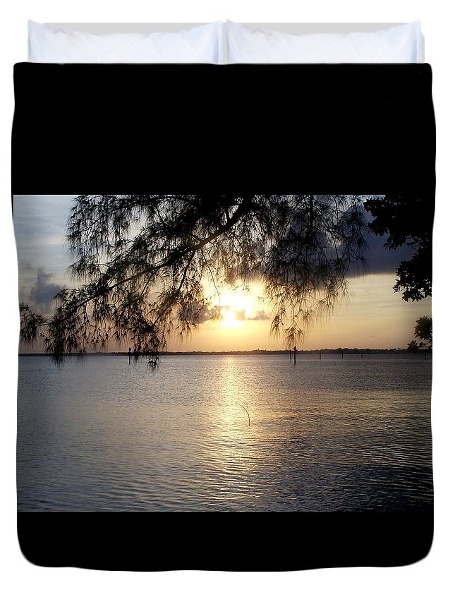 Sunrise Duvet Cover featuring the photograph Ft. Myers Sunrise by Glenna Oliver