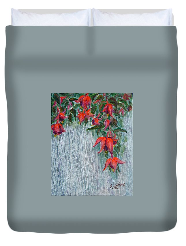 Flowers Duvet Cover featuring the painting Fuchsia On The Fence by Peggy King