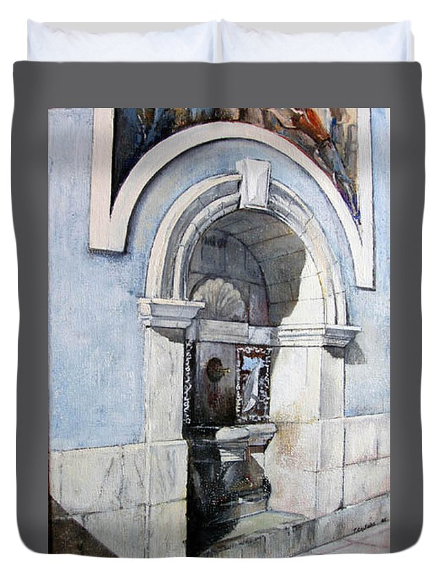 Fuente Duvet Cover featuring the painting Fuente Castro Urdiales by Tomas Castano