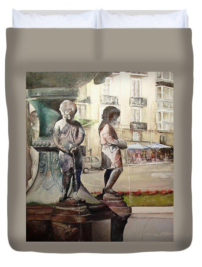 Fuente De Los Meones Duvet Cover featuring the painting Fuente de los meones by Tomas Castano