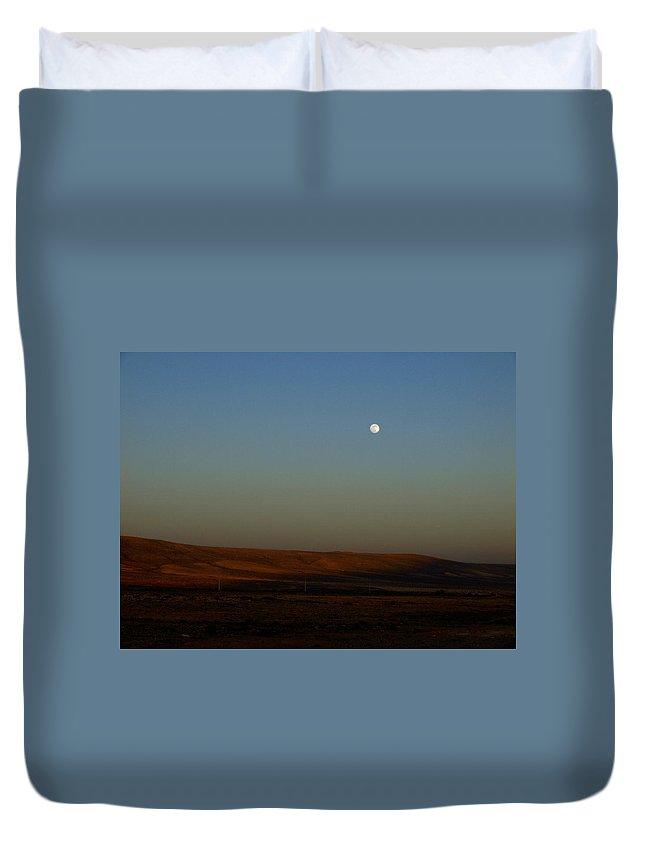 Canary Island Duvet Cover featuring the photograph Fuenteventura Moon by Jouko Lehto