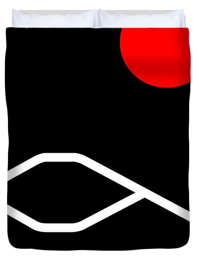 Fuji Duvet Cover featuring the digital art Fujiyama by Asbjorn Lonvig
