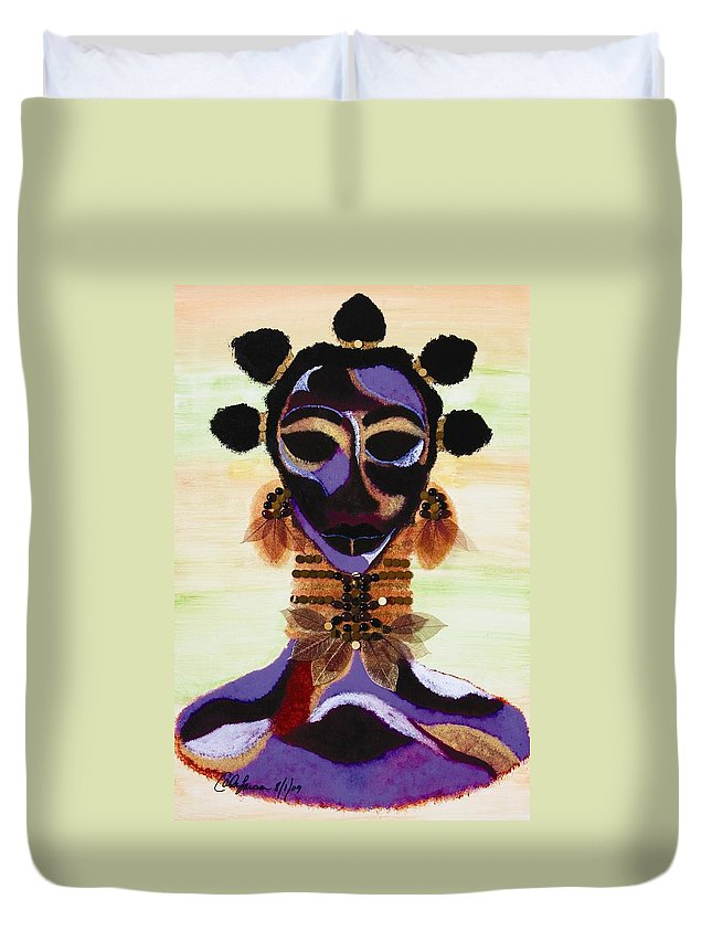 Fulani Duvet Cover featuring the painting Fulani by Carla J Lawson