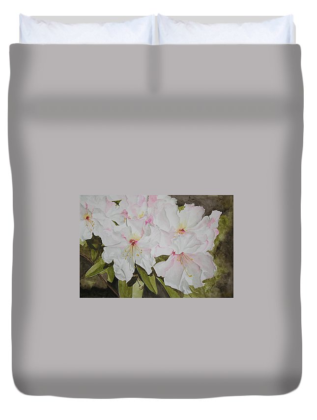 Flowers Duvet Cover featuring the painting Full Bloom by Jean Blackmer