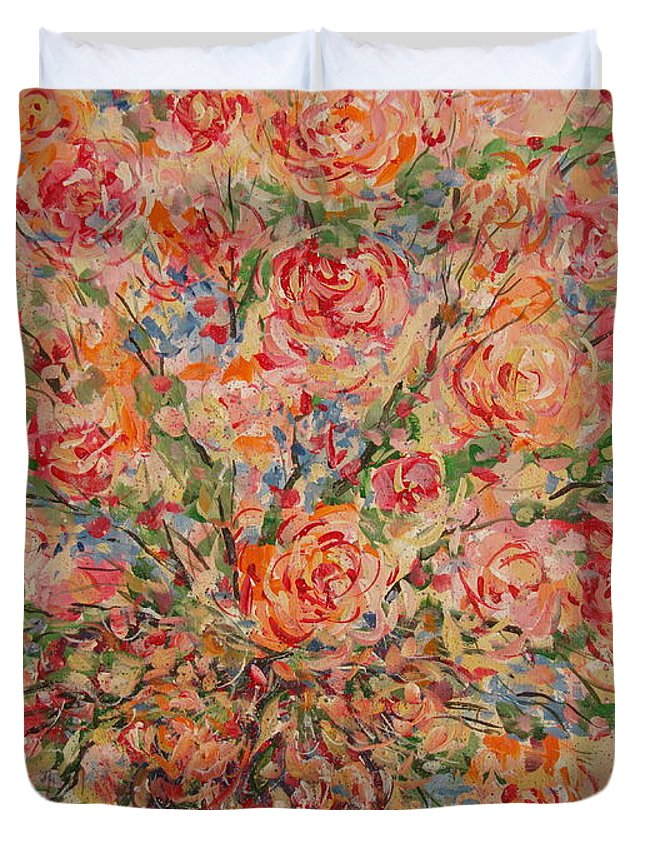 Flowers Duvet Cover featuring the painting Full Bouquet. by Leonard Holland